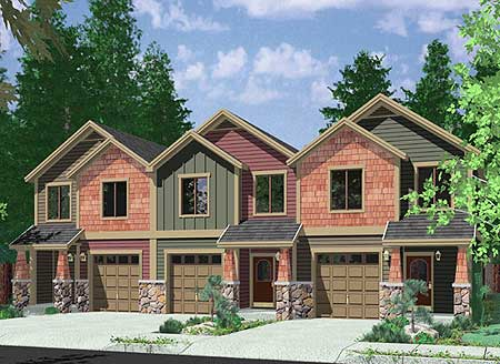 2 bed triplex house plan 38029lb 2nd floor master for Triplex home plans