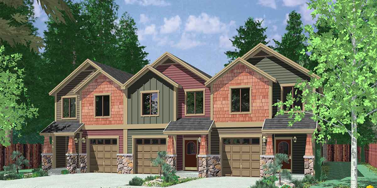 2 bed triplex house plan 38029lb architectural designs for Triplex house plans