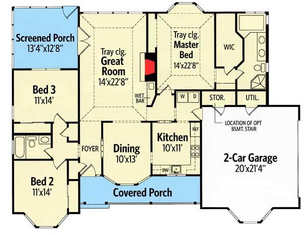 Charming Front Porch - 3803JA floor plan - Main Level