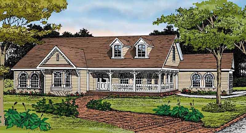 Inspired by country folk victorian 3844ja 1st floor for Folk victorian house plans