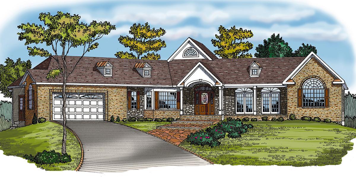 Angled Split Bedroom Ranch 3866ja Architectural