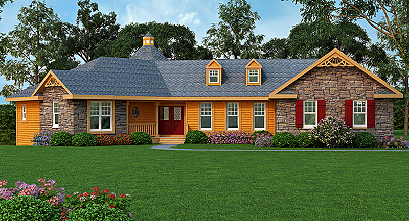 Rustic ranch with 3 car garage 3882ja architectural for 3 car garage ranch home plans