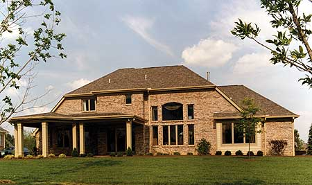 Stylish two story home plan 39026st 1st floor master for House plans with 2 story library