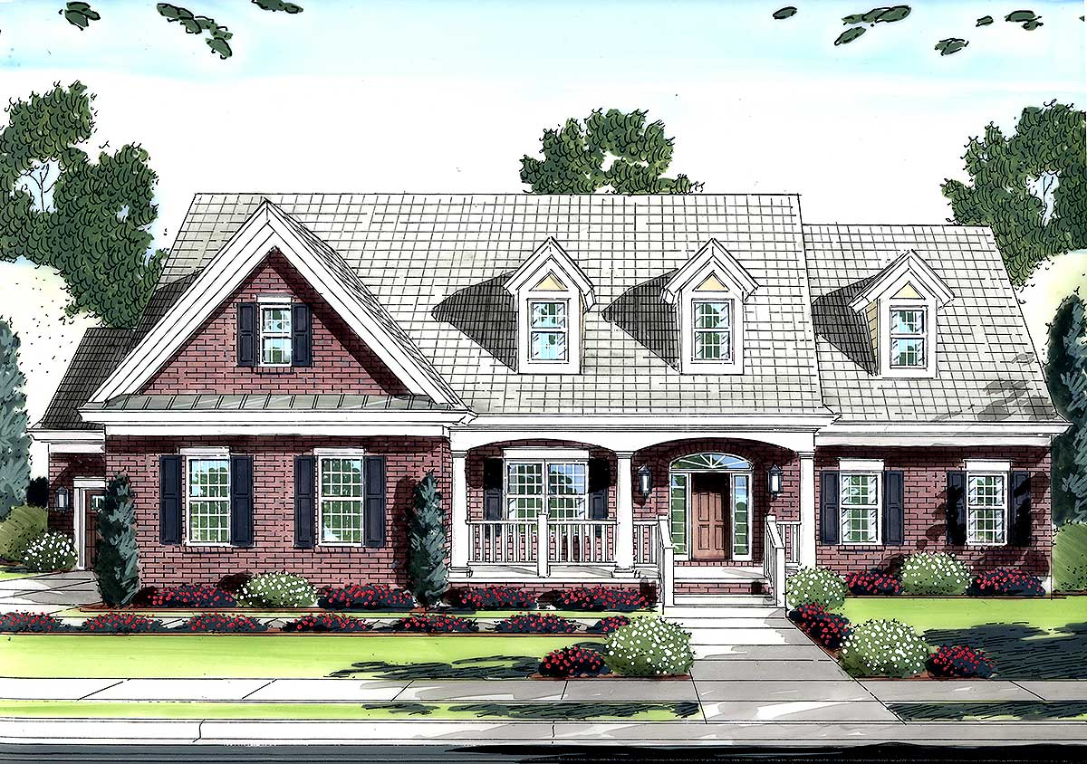 Beautiful ceilings 39070st 1st floor master suite for Country cape cod house plans