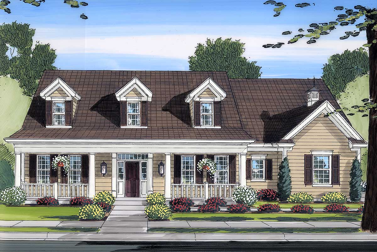 Beautiful country exterior 39118st 2nd floor master for Beautiful farmhouse plans