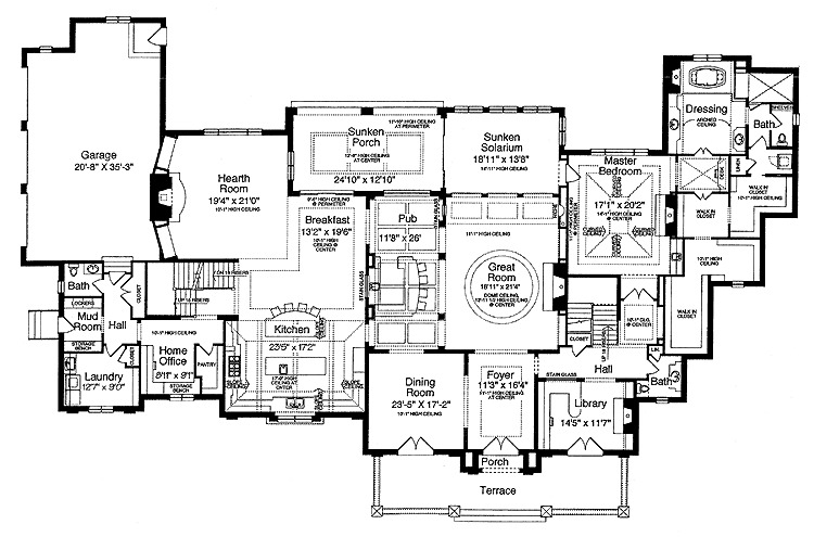 Architectural designs for European manor house plans