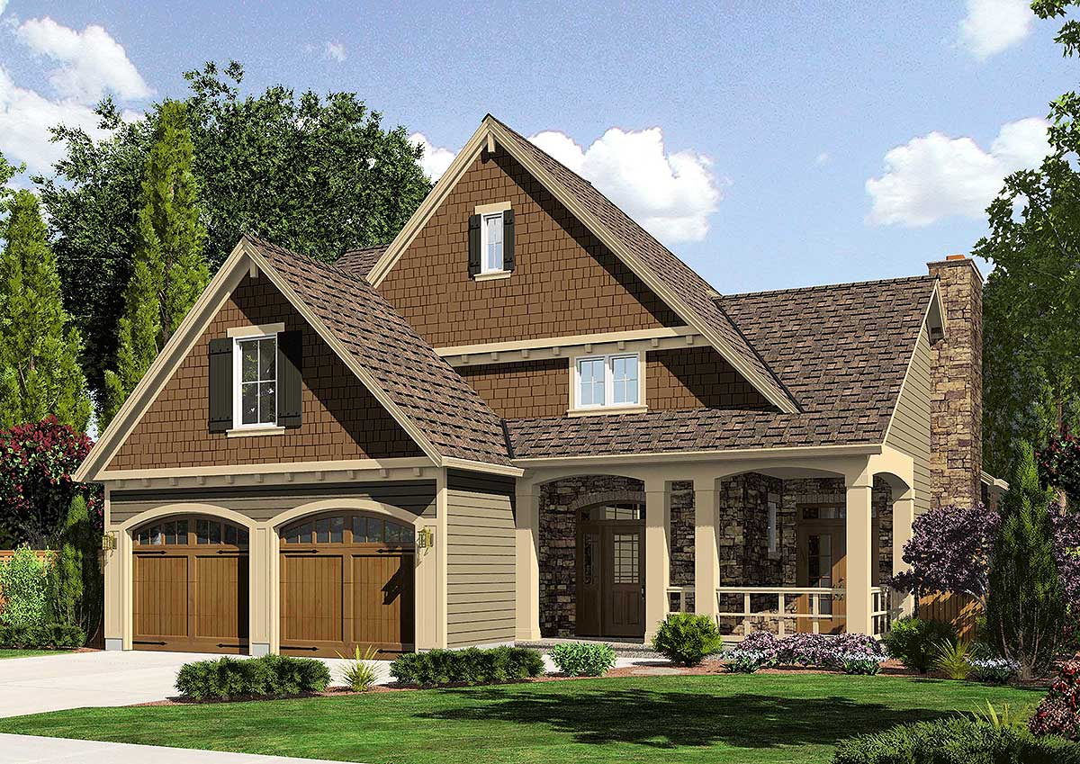 Charming l shaped porch 39161st 2nd floor master suite for L shaped craftsman home plans