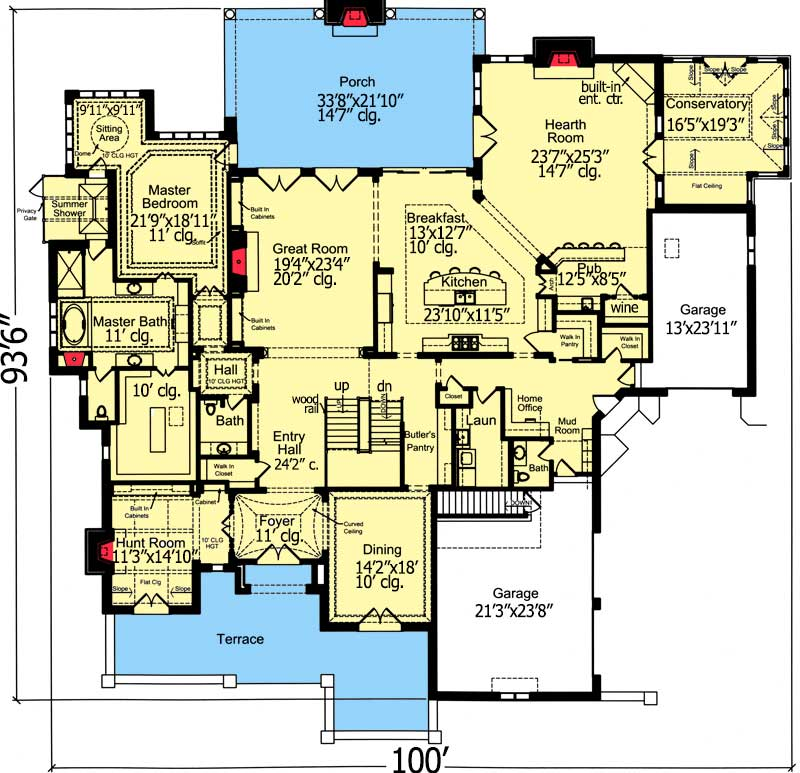 4 Bedrooms House Plan with Classic Exterior - 39222ST floor plan - Main Level