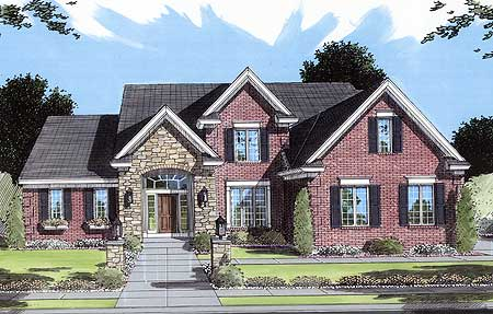 Brick and stone two story 3972st architectural designs for 2 story brick house plans
