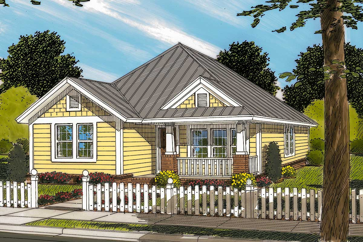 Cute southern cottage with options 40522wm for Southern cottage house plans with photos