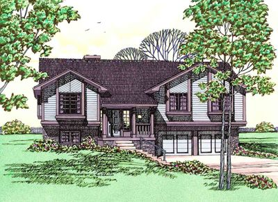 Up-To-Date Split Level House Plan - 41118DB thumb - 02