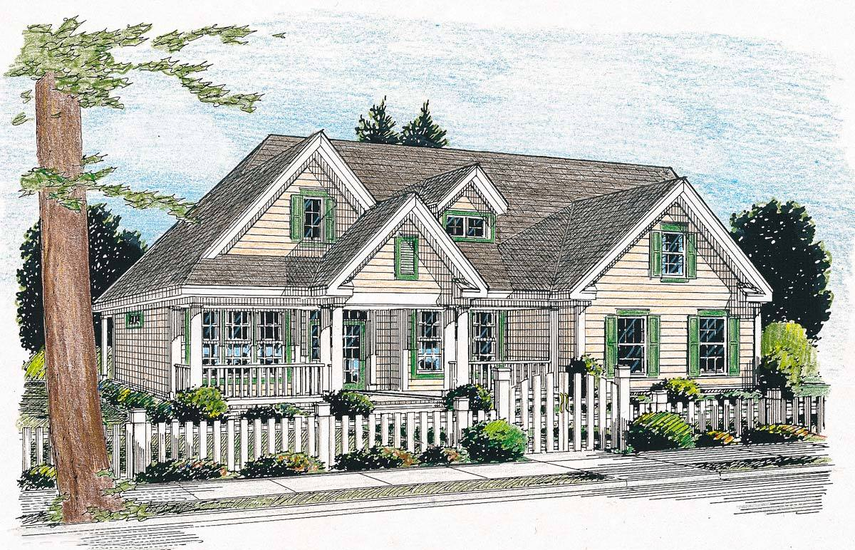 country cottage house plans with porches country cottage has four porches 4135wm architectural 26556