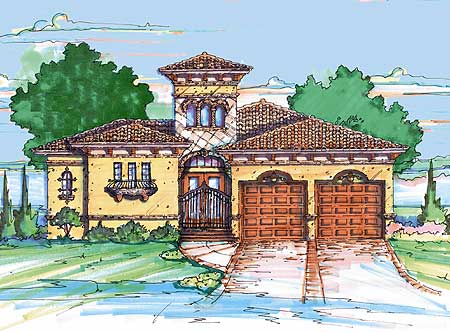 Mediterranean home plan with casita 4213mj for Casita home plans