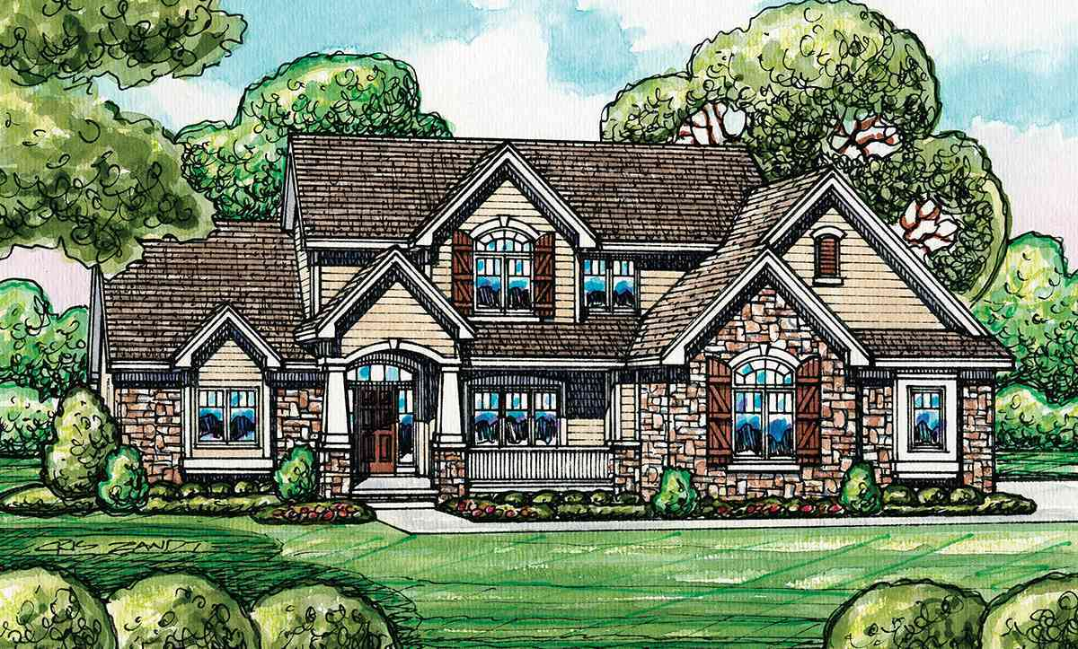 European house plan with flex room 42198db for European house design
