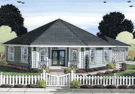 Octagonal cottage home plan 42262wm architectural for Octagon shaped house plans