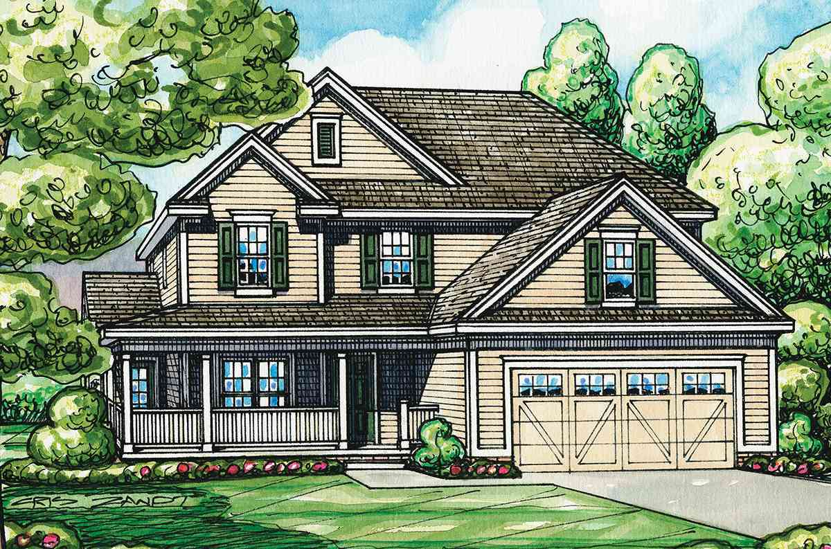 Home plan with l shaped front porch 42287db for L shaped house front porch