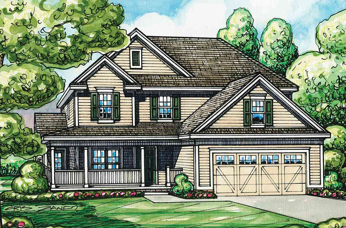 Home Plan With L-Shaped Front Porch