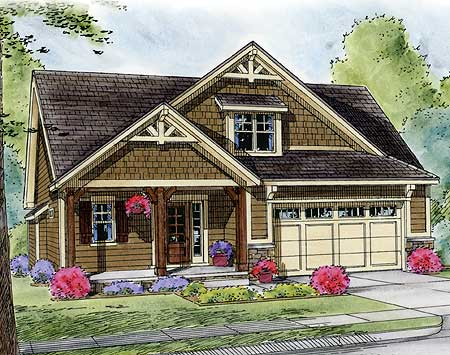 Narrow lot craftsman with optional bed layout 42290db for Narrow craftsman house plans