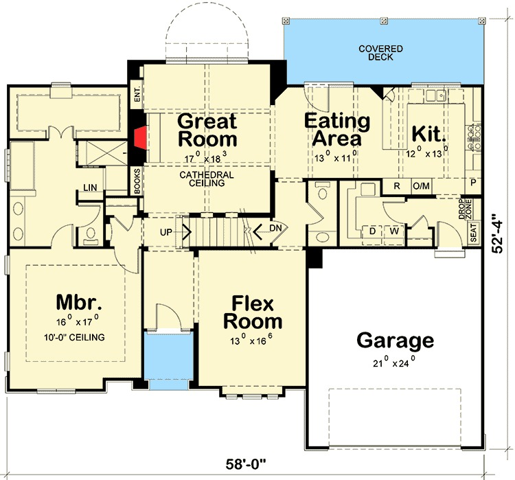 4 bedroom craftsman with cathedral ceiling 42296db 1st for South cathedral mansions floor plans