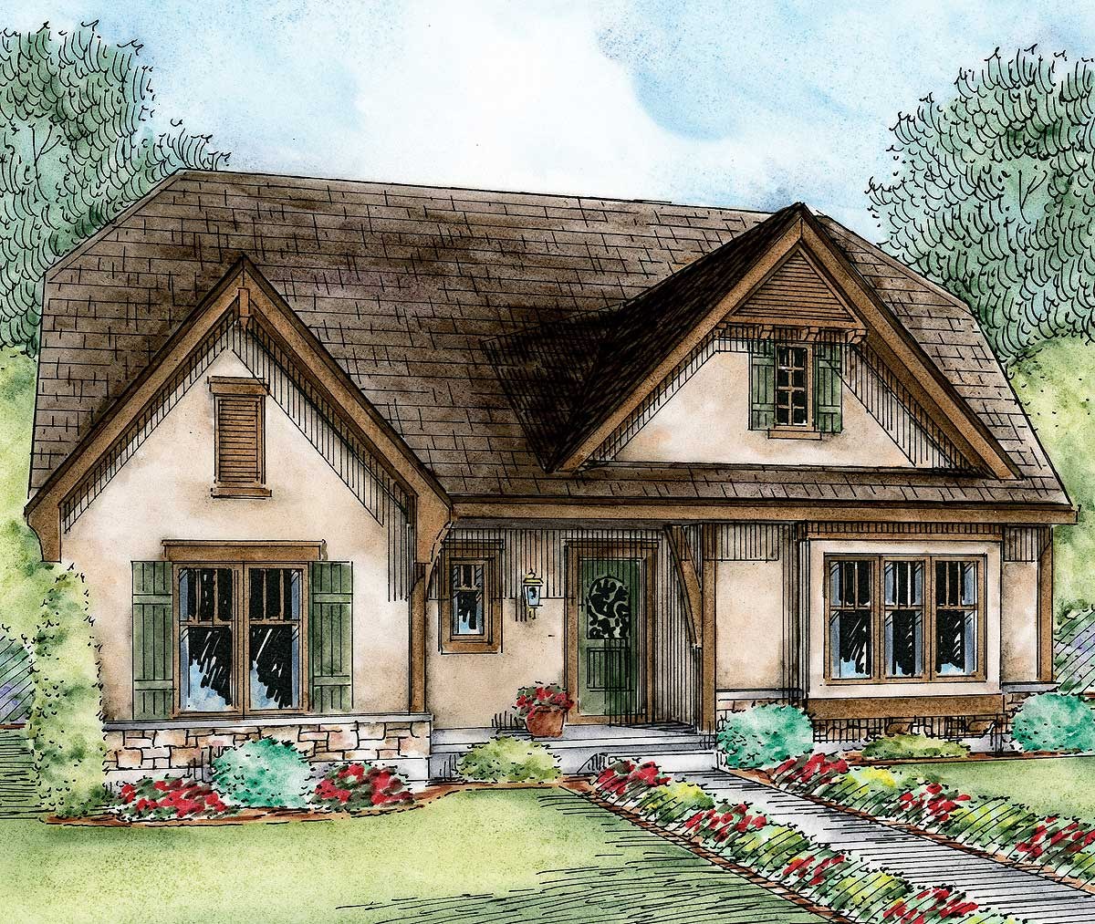 Cottage house plan with expansion possibilities 42350db for House plans designed for future expansion