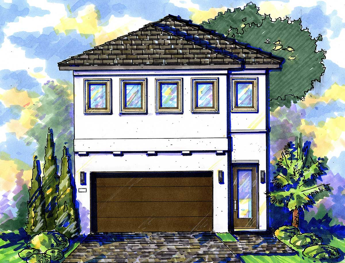 Narrow Lot Mediterranean House Plan 42823mj 2nd Floor Master Suite Cad Available Den