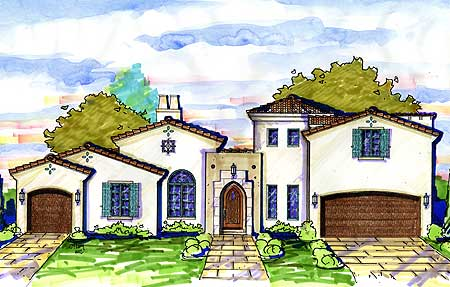 Spanish Courtyard Home Plan 42828MJ 1st Floor Master Suite CAD Available