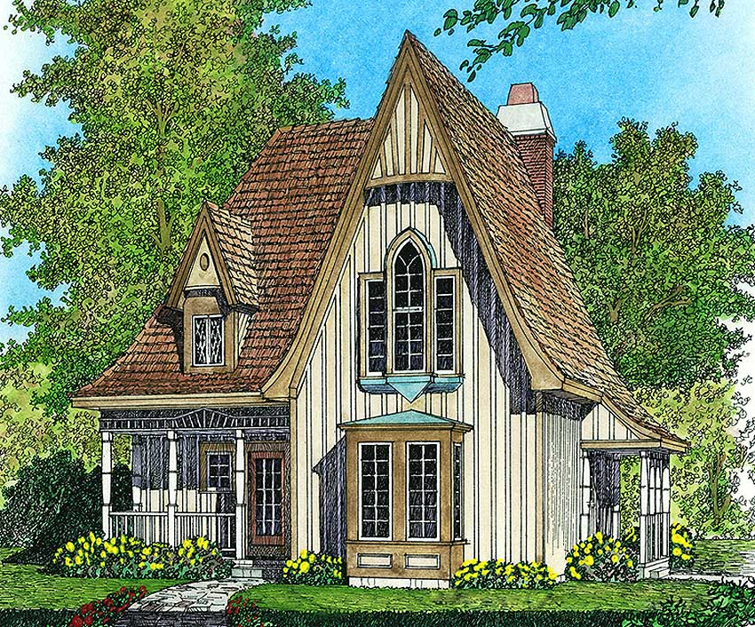 Charming Gothic Revival Cottage 43002pf Architectural