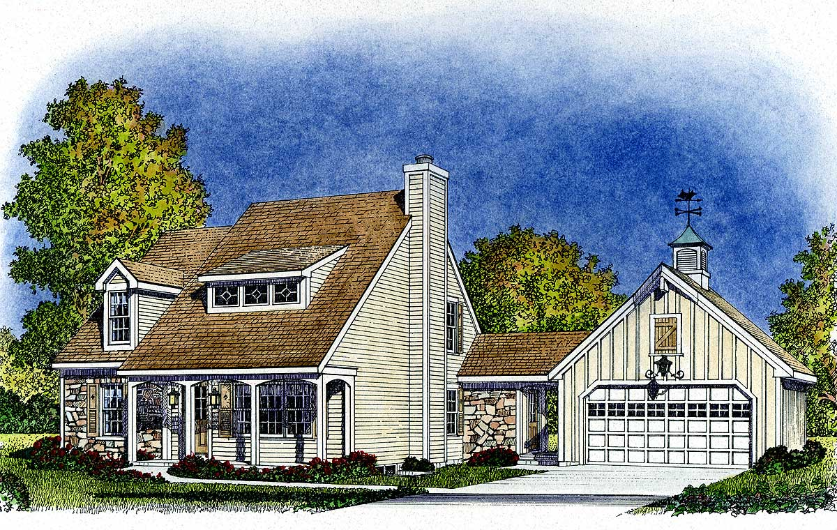 Beckoning breezeway 43011pf architectural designs for Breezeway house plans