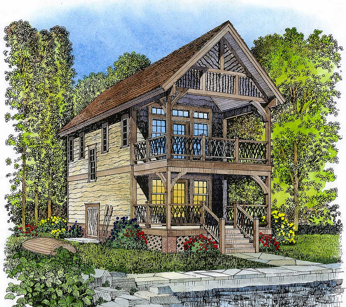 Petite adirondack style retreat 43041pf architectural for Adirondack style homes