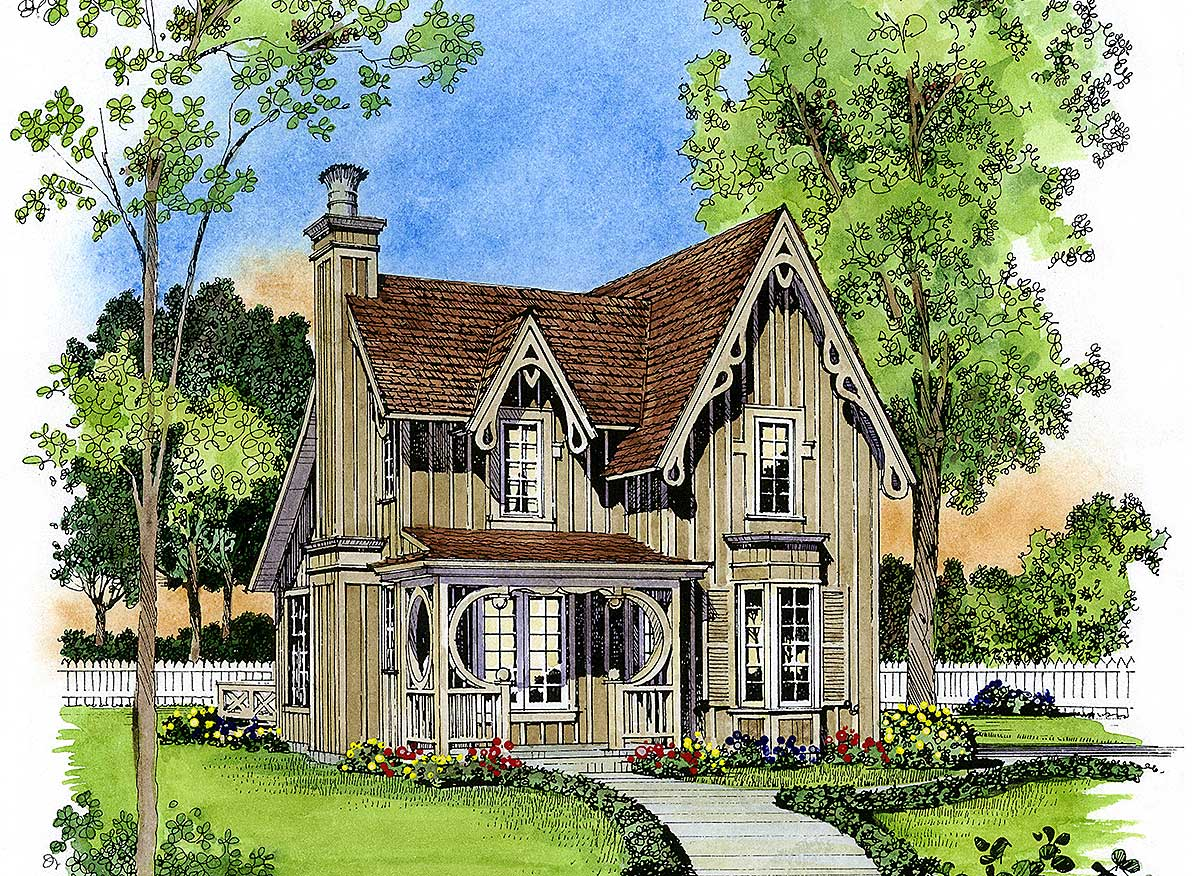 Gothic revival gem 43044pf architectural designs for Gothic cottage plans