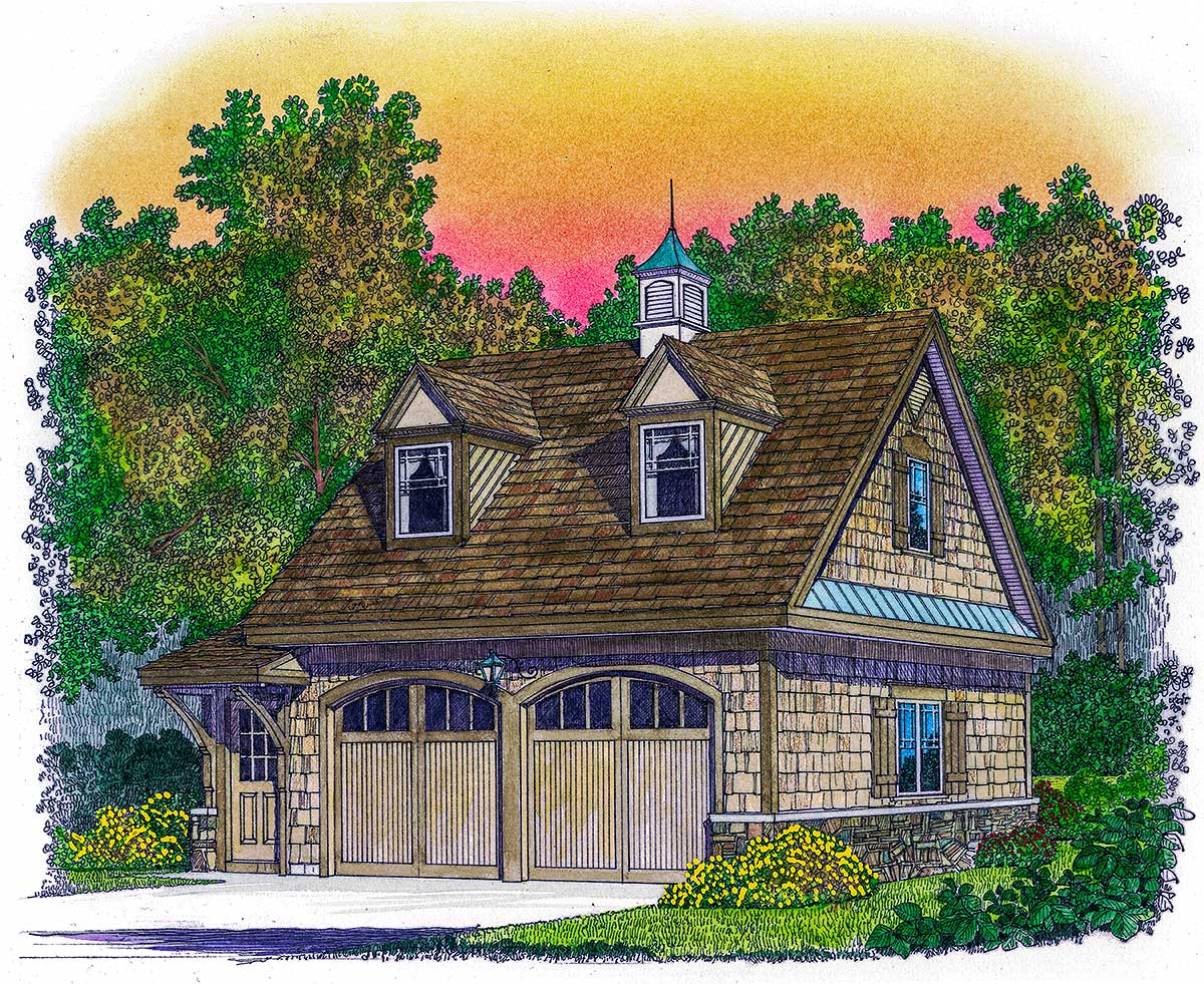 Two car man cave 43055pf architectural designs house for Man cave house plans