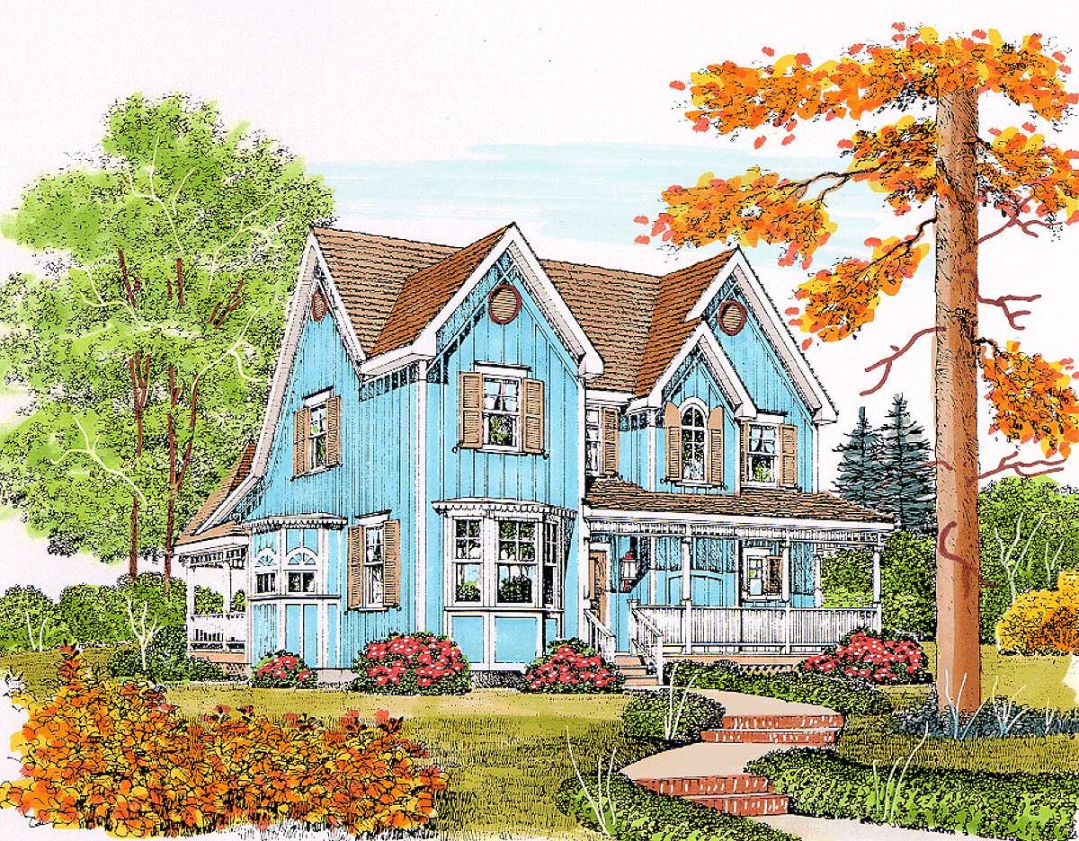 Charming gothic revival farmhouse 43071pf for Gothic revival farmhouse