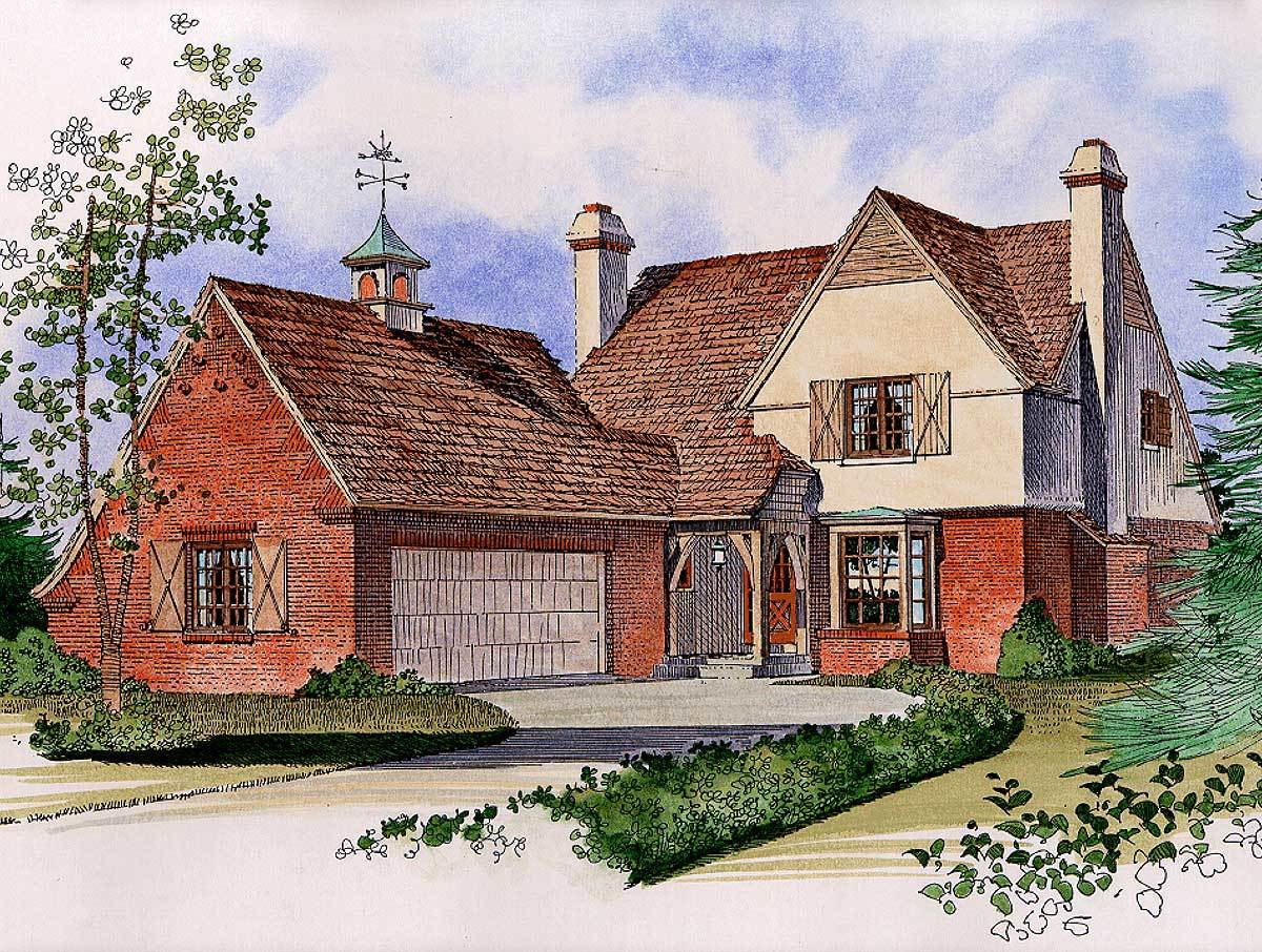 Charming English Cotswold Style 43073pf Architectural