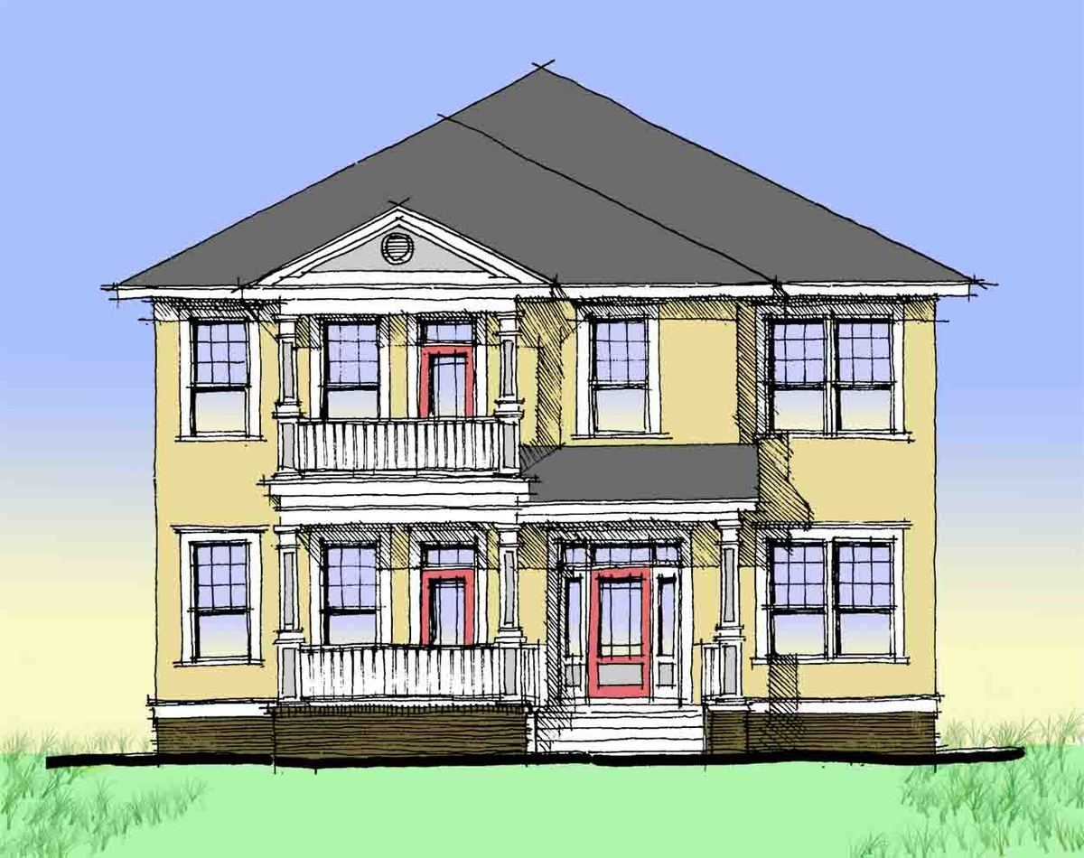 Charleston style double side porch 44014td for Double front porch house plans