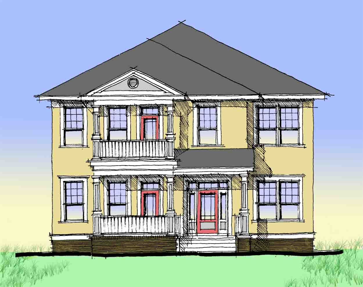 Charleston style double side porch 44014td 1st floor for Charleston house plans narrow lots
