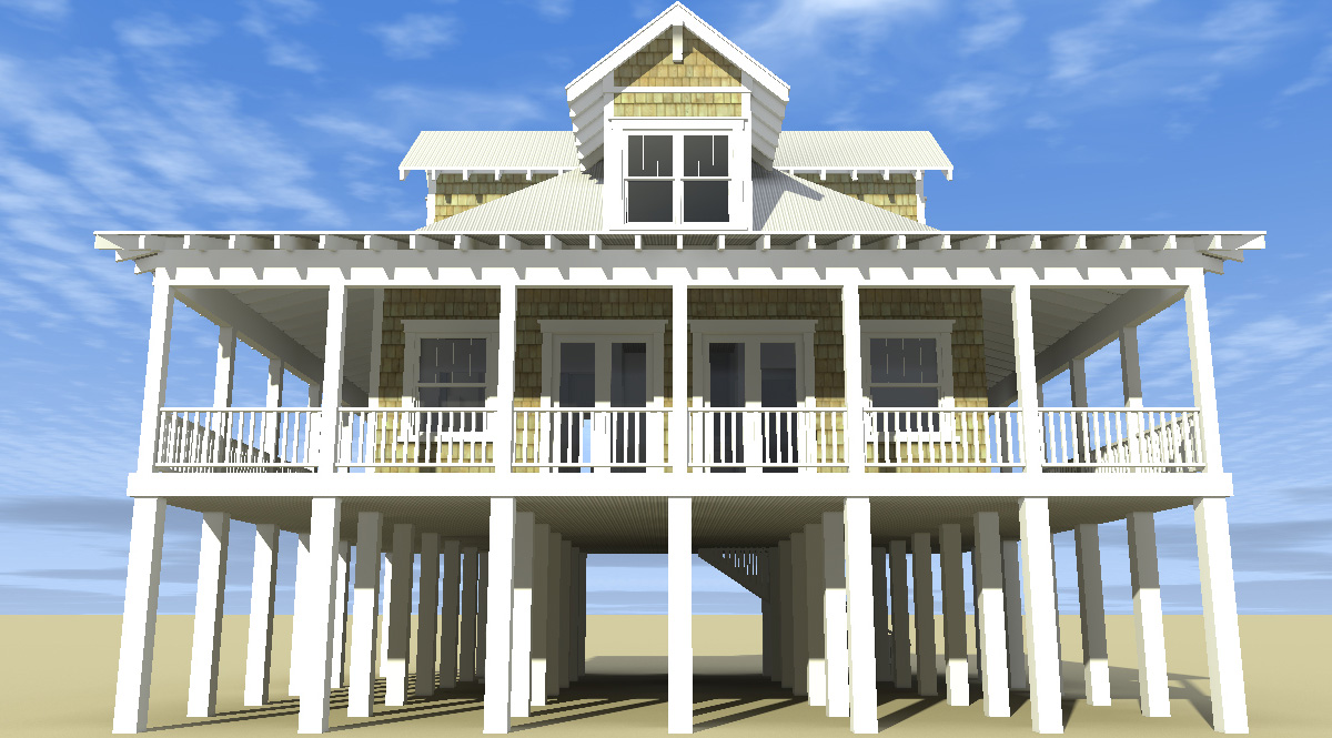 Classic florida cracker beach house plan 44026td 2nd for Beachfront house plans