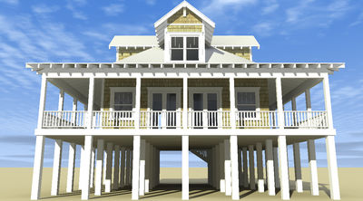 Classic Florida Cracker Beach House Plan - 44026TD thumb - 01