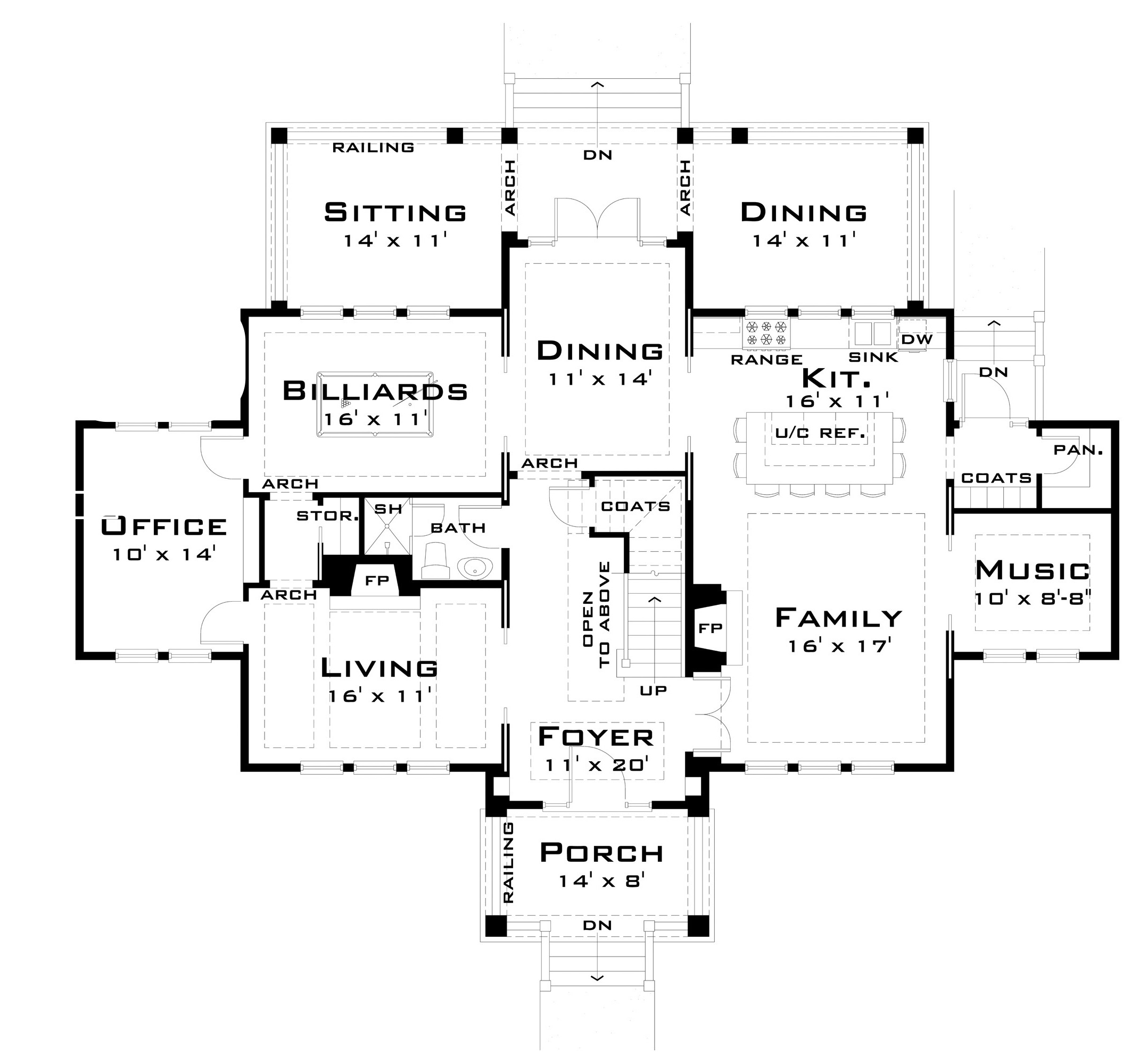 For the large family 44040td architectural designs for Big family house floor plans