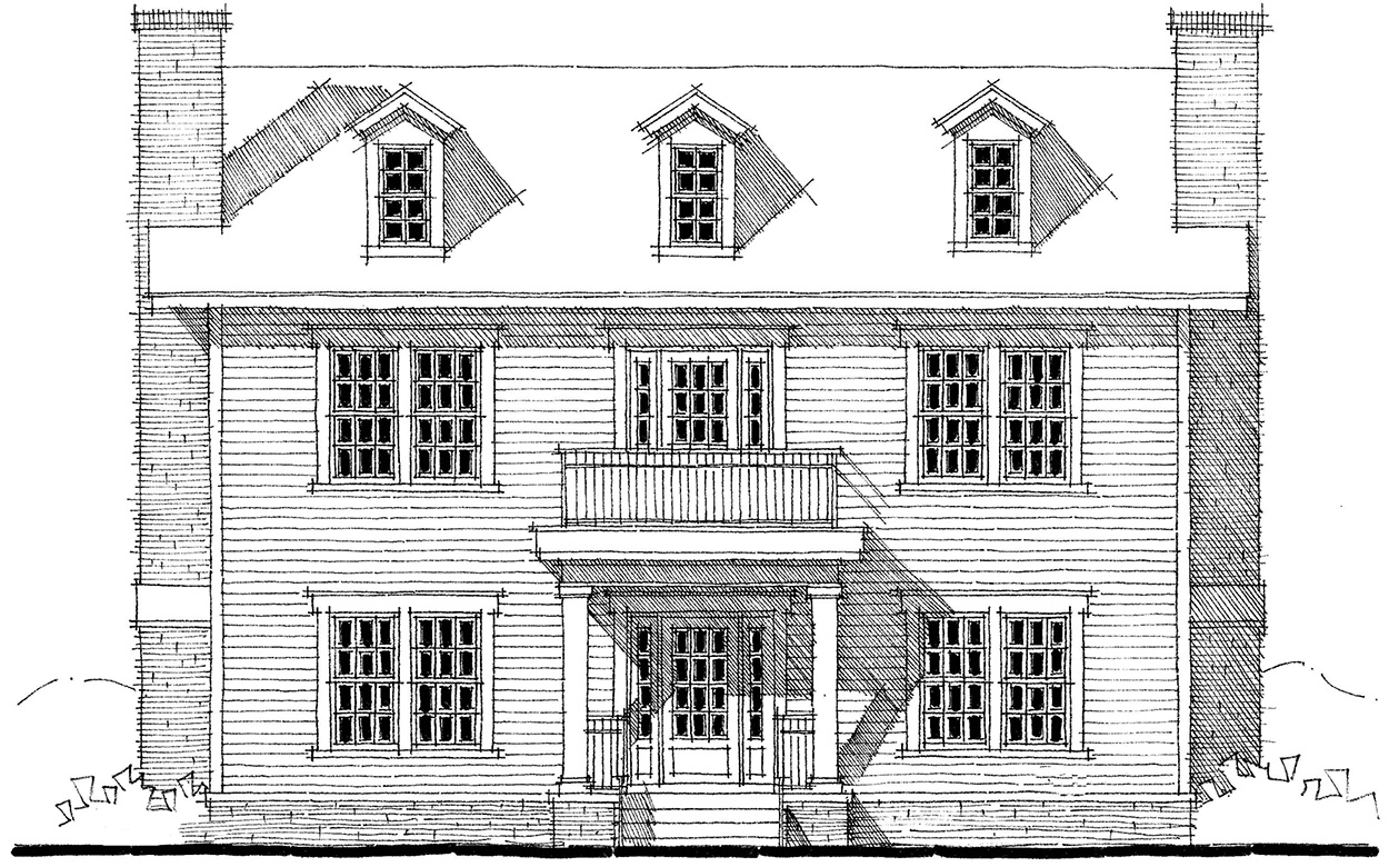 Center Hall Colonial House Plan - 44045TD
