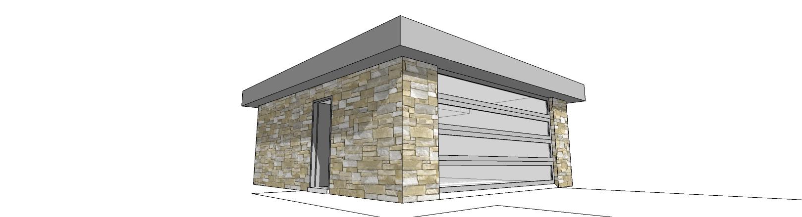 Modern garage with translucent doors 44049td cad for Translucent garage doors