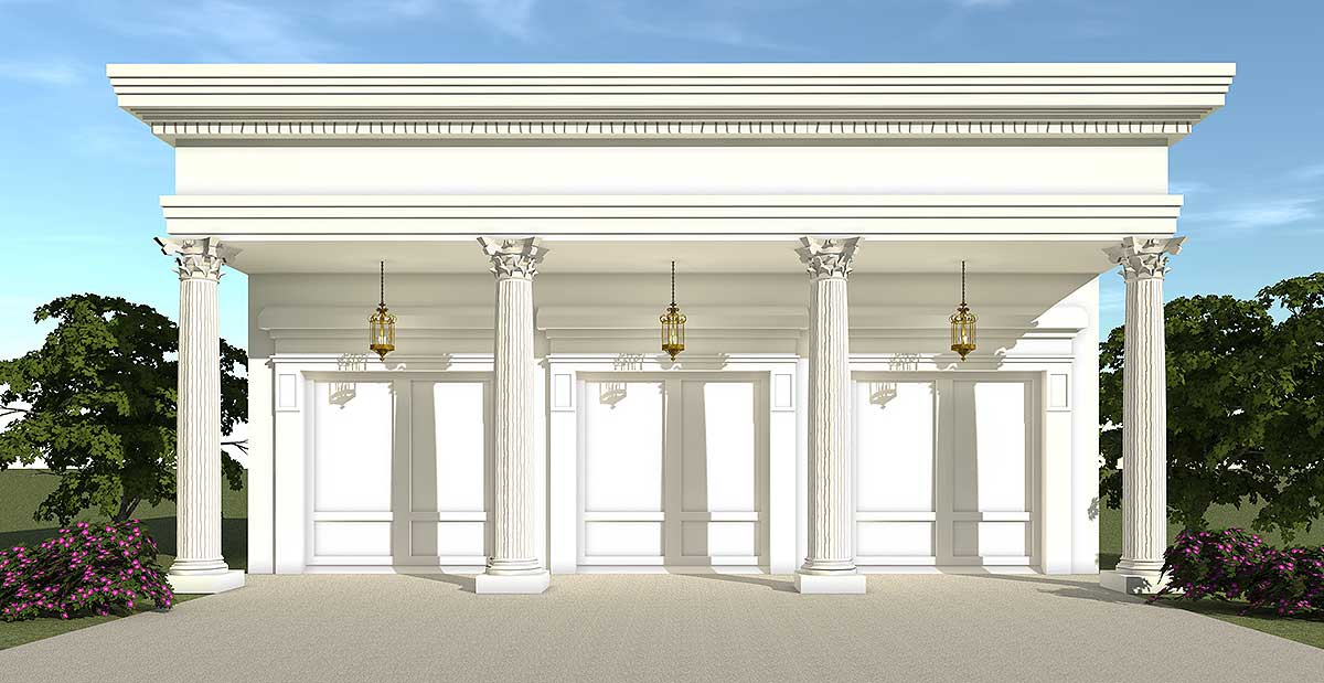 Greek revival garage 44053td cad available metric for Ad architectural design