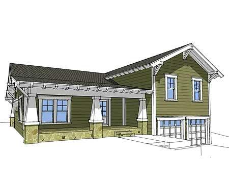 Craftsman split level 44067td 2nd floor master suite for Side porch house plans