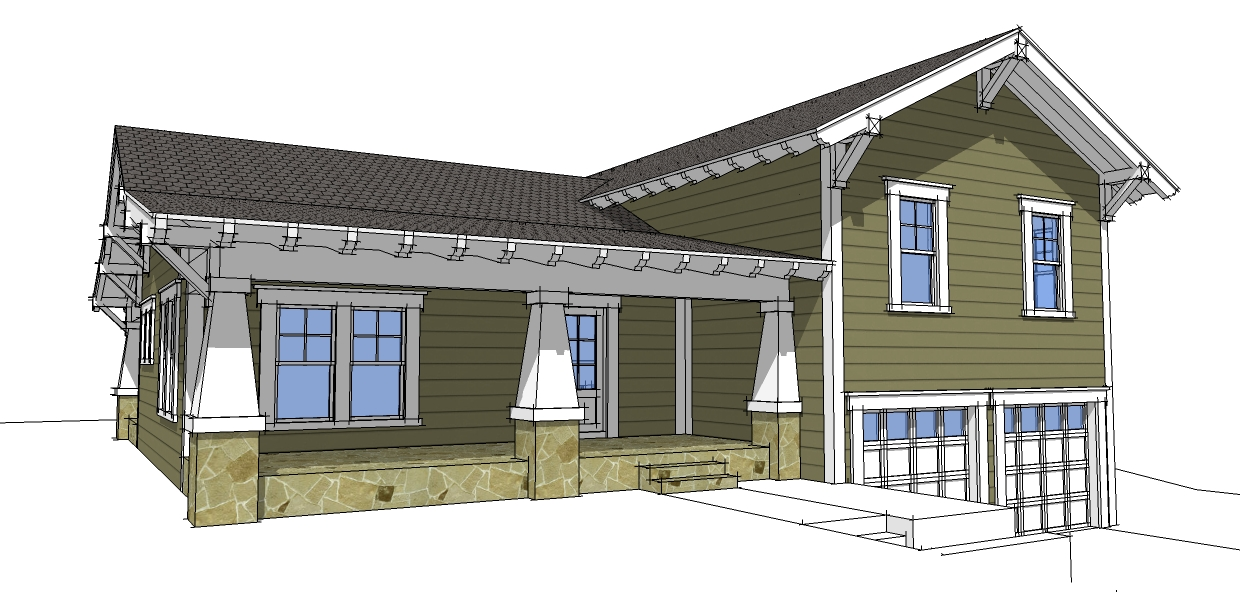 Craftsman split level 44067td 2nd floor master suite for Split level house plans with attached garage