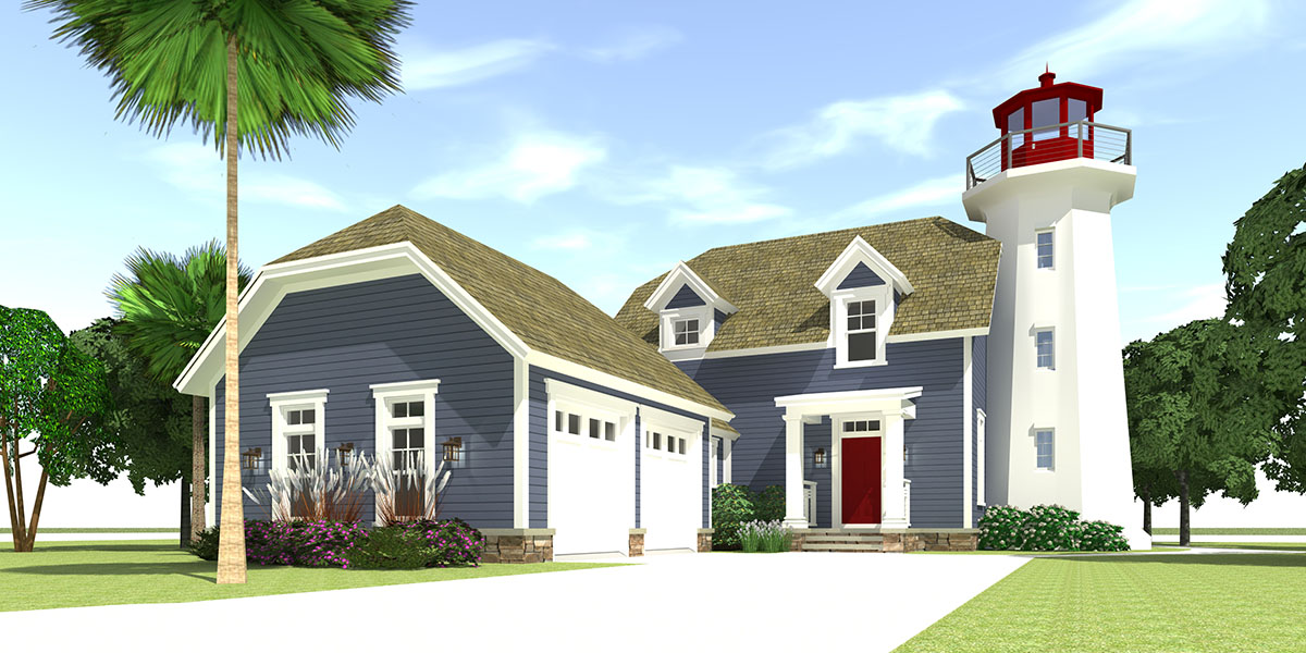 Lighthouse With Cape Attached   44068TD | Architectural Designs   House  Plans