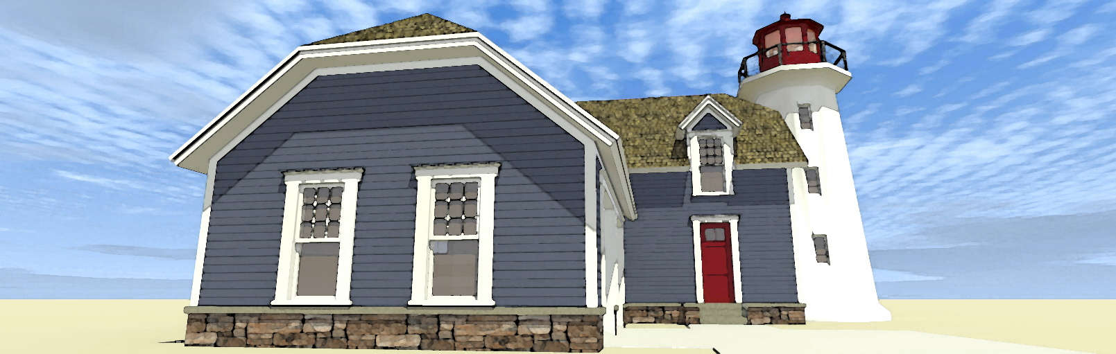 Lighthouse with cape attached 44068td 2nd floor master for Lighthouse home plans