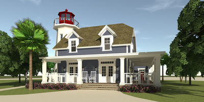 Lighthouse with cape attached 44068td architectural for Lighthouse home plans
