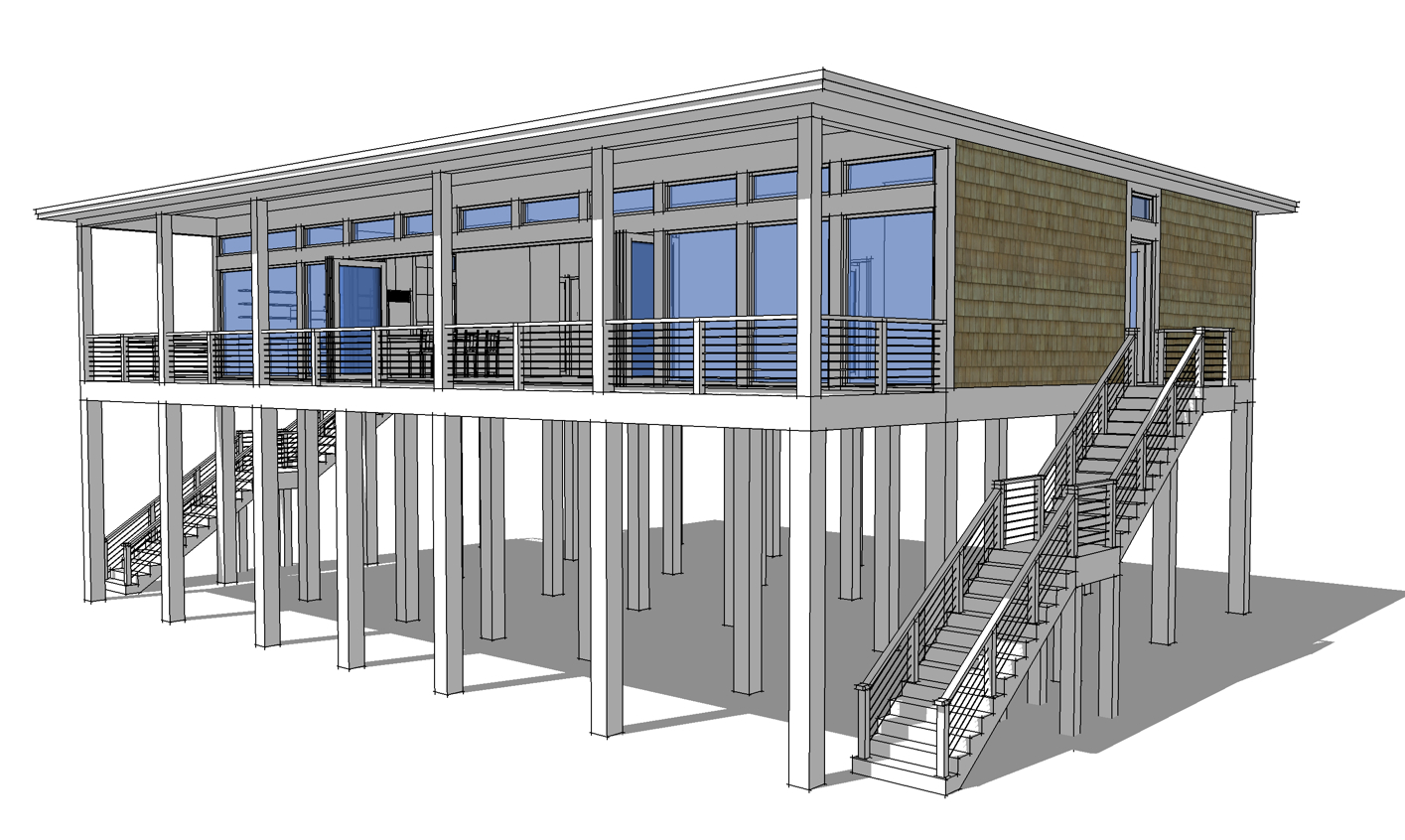 Modern piling loft style beach home plan 44073td for Modern garage plans with loft