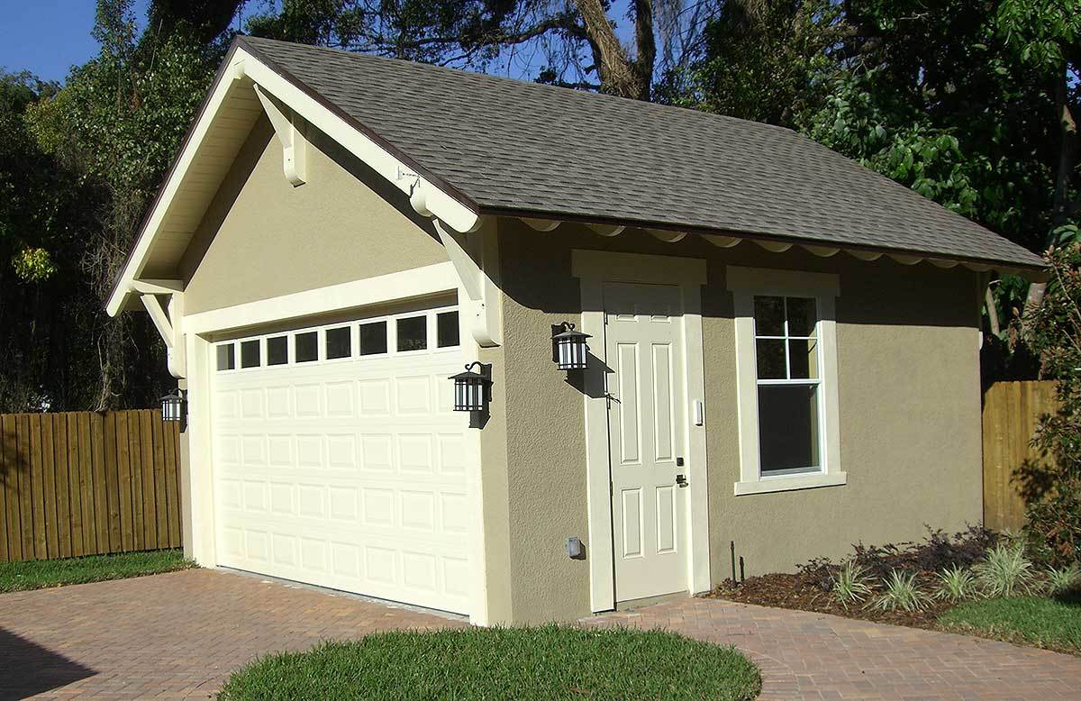 Craftsman style detached garage plan 44080td for Two car garage with workshop plans