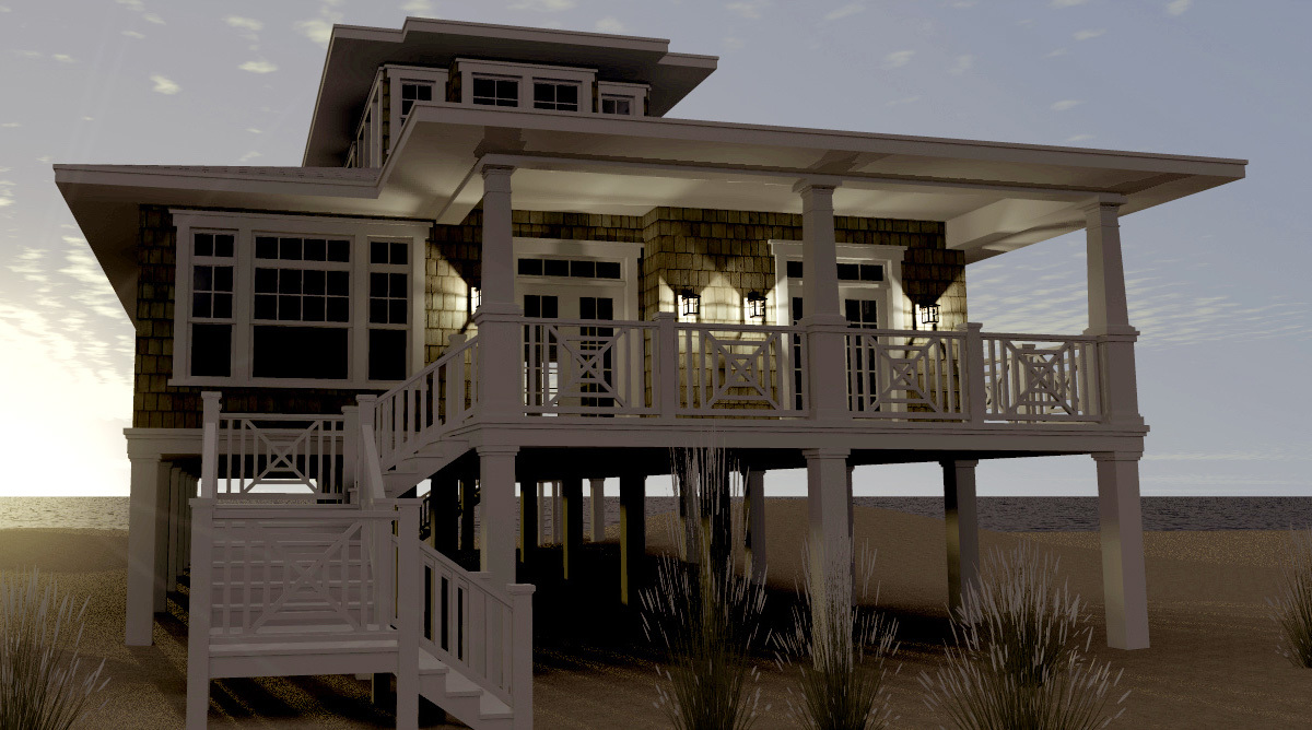Piling house plans southern cottages beach home plans on for House plans with elevators waterfront
