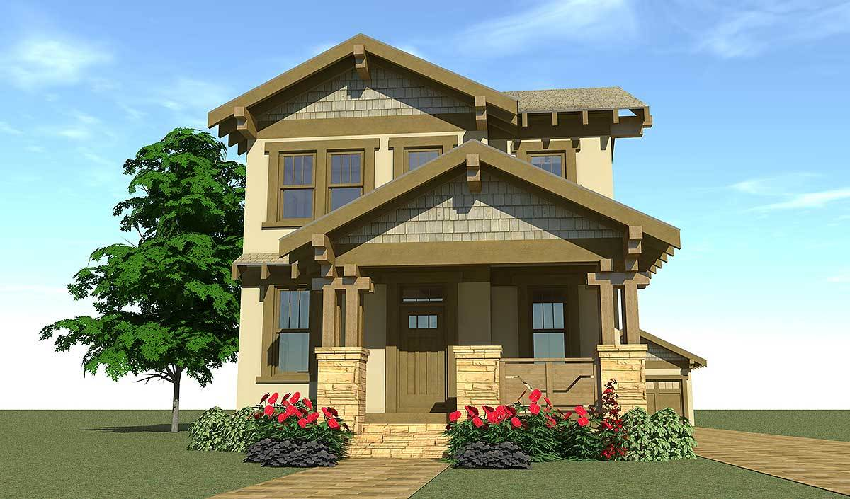 Craftsman bungalow for narrow lot 44119td for Narrow frontage home designs